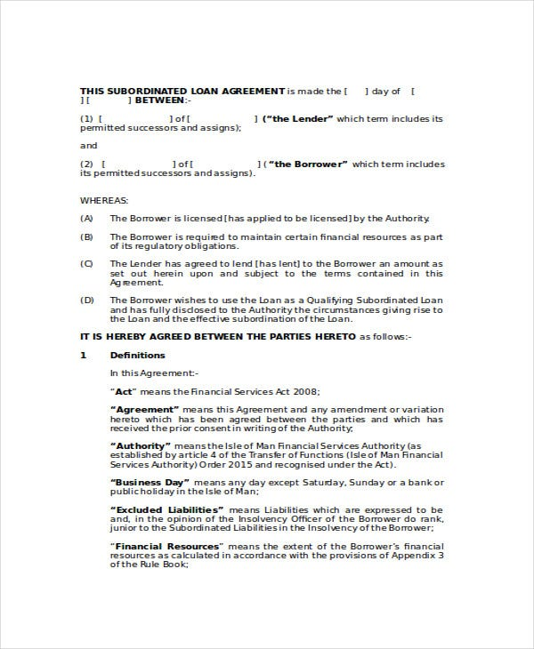 Proforma Subordinated Loan Agreement Contract Template