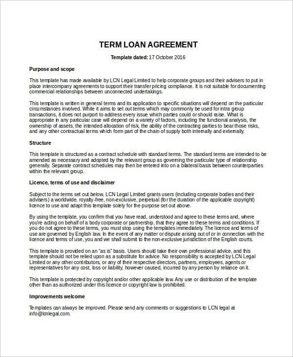Directors Loan To Company Agreement Template