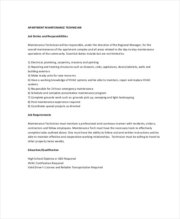 Maintenance Job Description - 9+ Free Pdf Documents Download