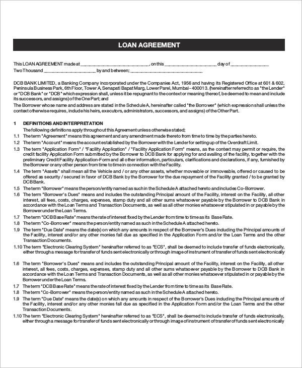 Loan Agreement Template   Free Word Pdf Document Download