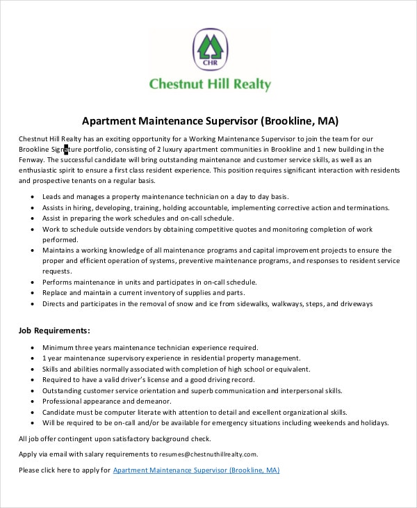 apartment-maintenance-supervisor-job-description-template