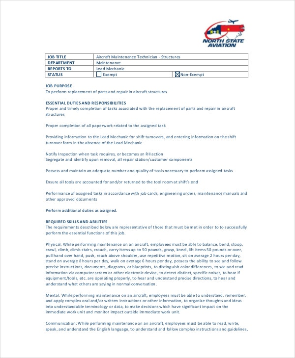 aviation maintenance technician job description
