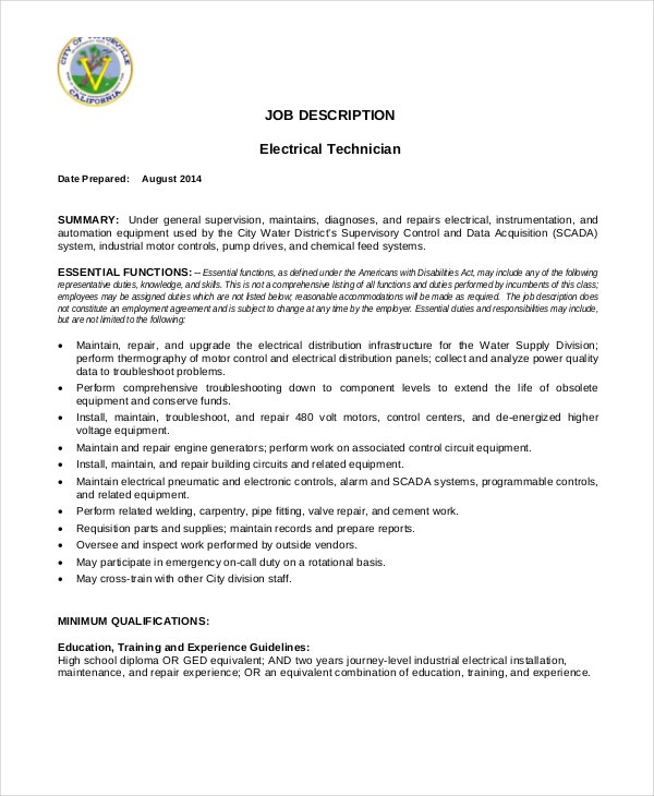 electrical-maintenance-technician-job-description-in-pdf