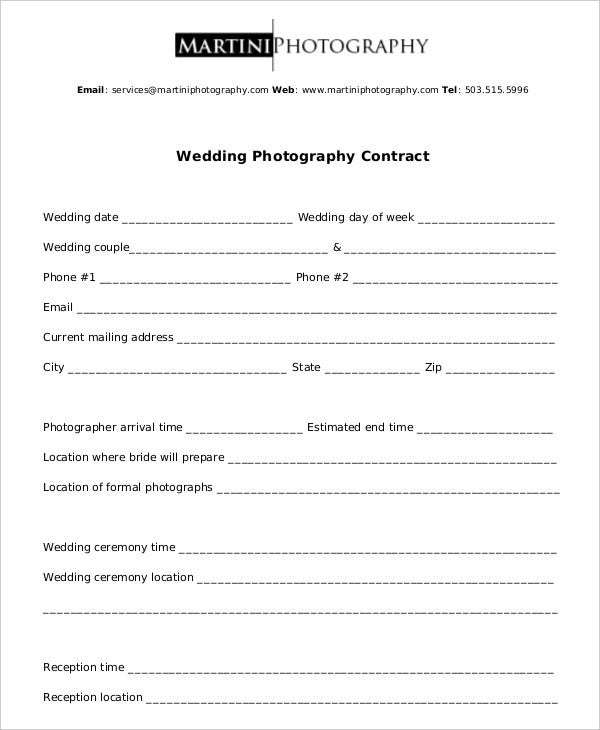 Photography Contracts Wedding Photographer Contract Word Template