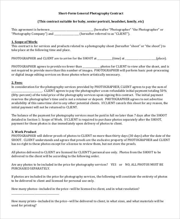 Photography Contract Example  Free Word Pdf Documents