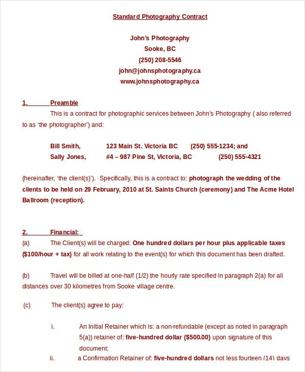 Photography Contract Example -11+ Free Word, Pdf Documents