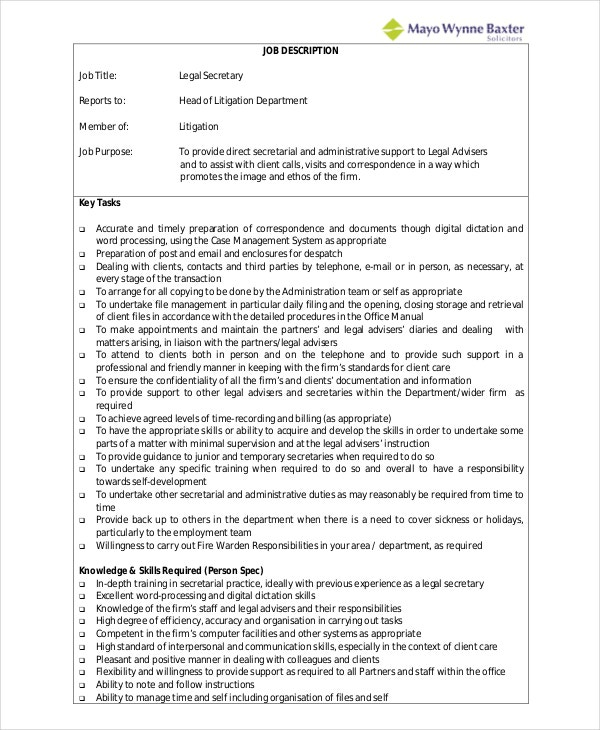 secretary job description example 10 free word pdf documents - Legal Secretary Resume