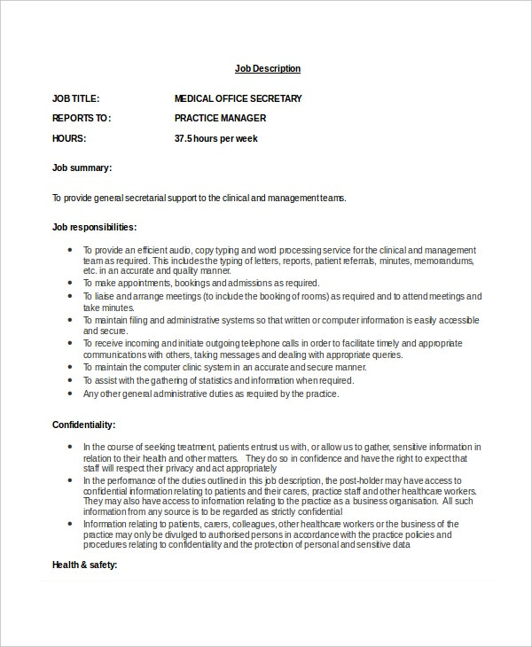 medical office secretary job description in doc