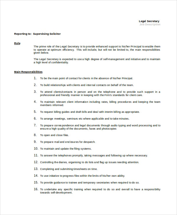 Secretary Job Description | Secretary Job Description Example 10 Free Word Pdf Documents