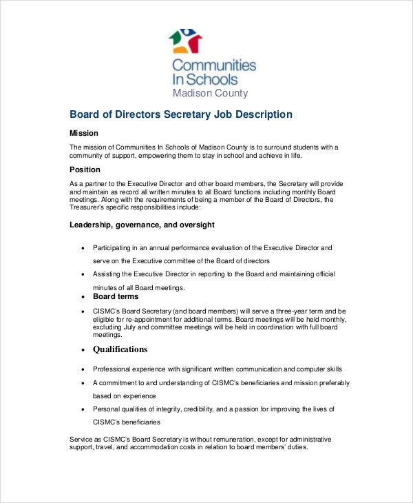 Secretary Job Description Example - 10+ Free Word, Pdf Documents