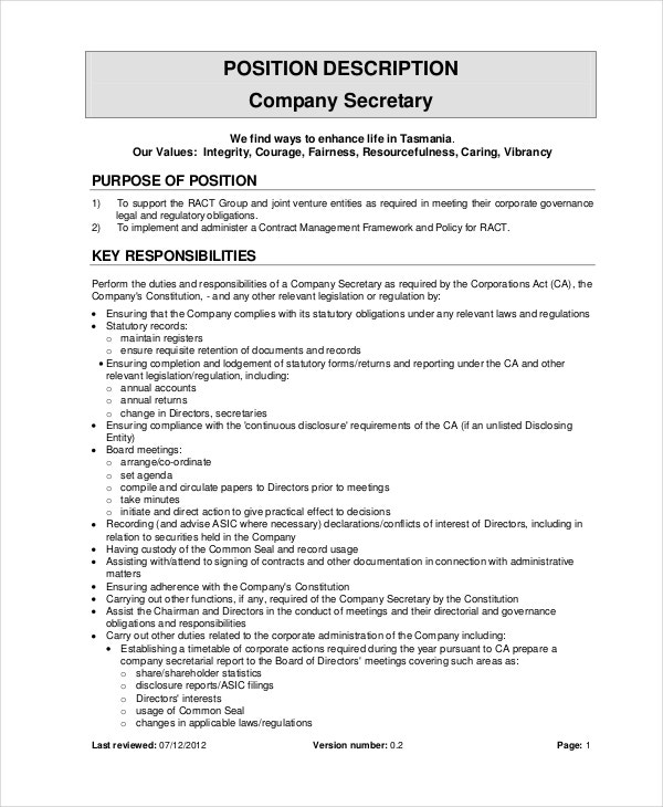 Secretary job description example 10 free word pdf for Example of a job description template