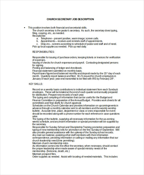 Secretary Job Description Example   Free Word Pdf Documents