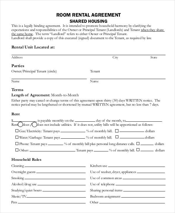 Rental Agreement. Blank Rental Agreement Template 20+ Rental