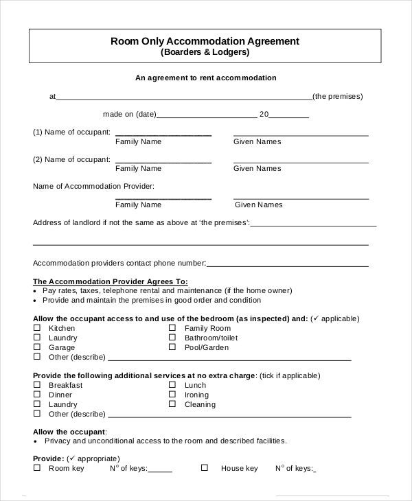 Room Rental Agreement   Free Word Pdf Documents Download  Free