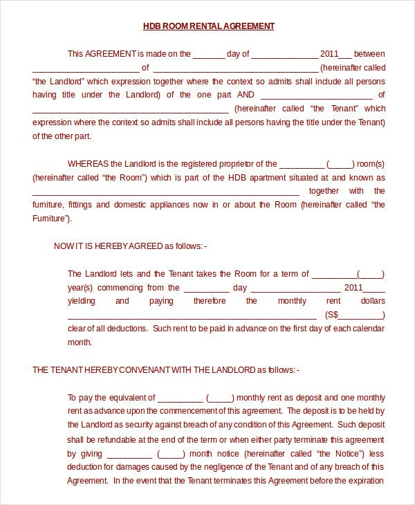 Room Rental Agreement Form Printable Sample Rental Lease Agreement