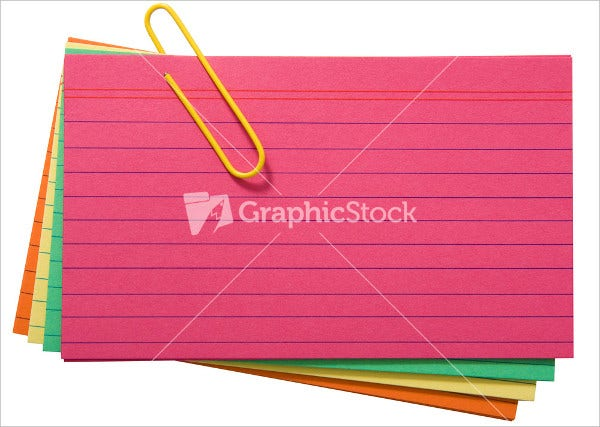 Colored Blank Index Card