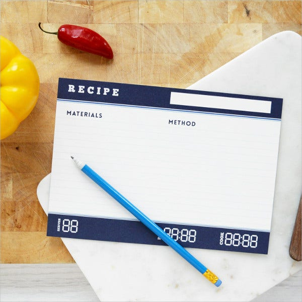 Science Recipe Index Card