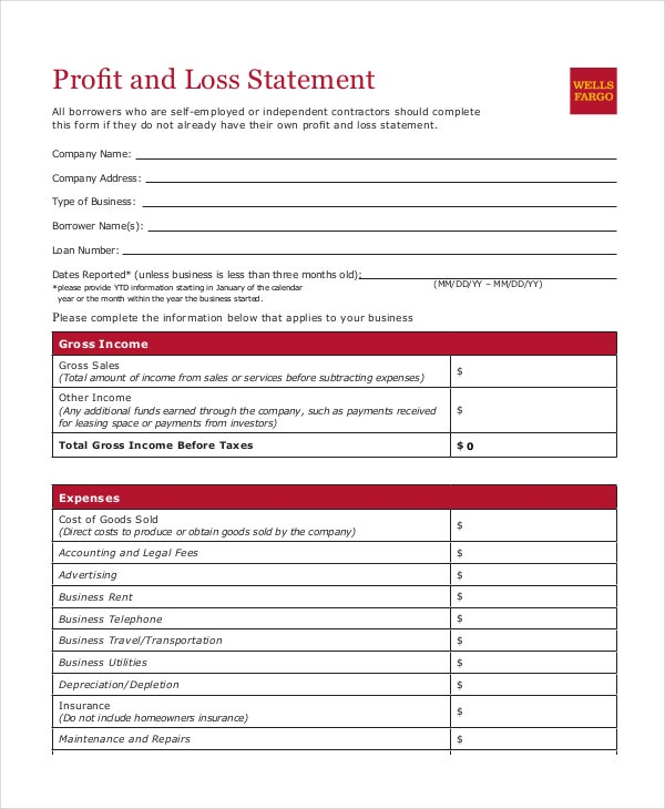Profit Loss Statement Template 9 Free PDF Excel Documents – Free Profit and Loss Template for Self Employed