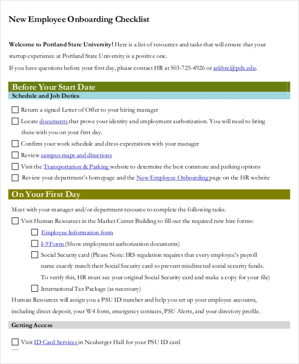 manager checklist template