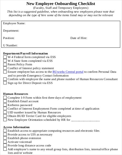 New Hire Checklist Template Word  CityEsporaCo