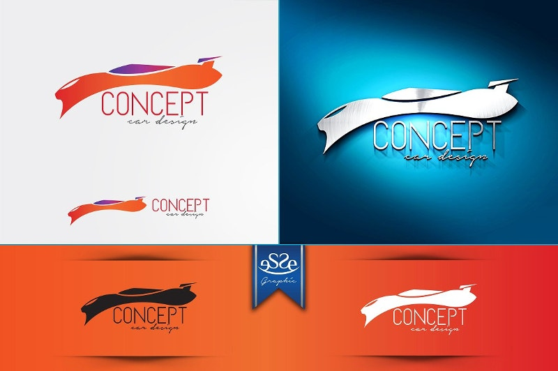 flat car logo design