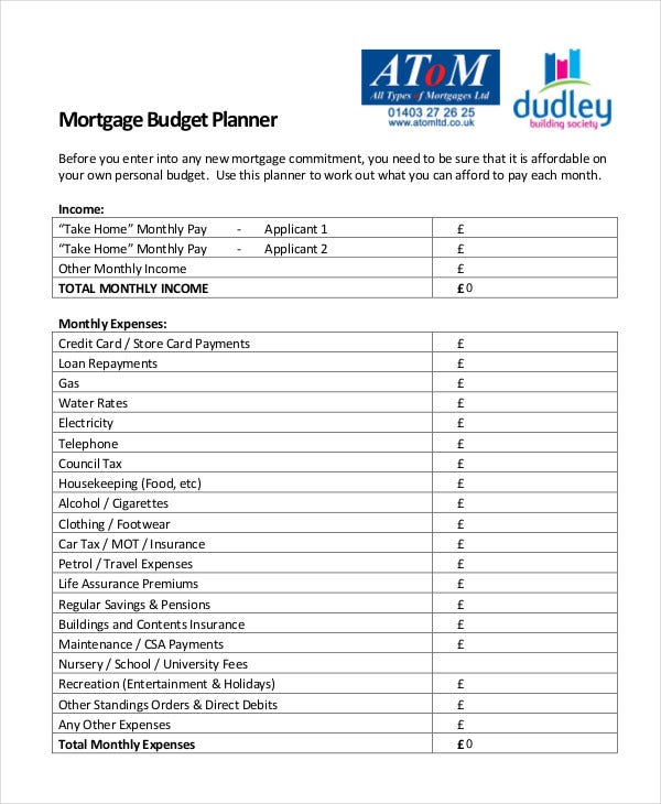 13  monthly budget planner templates