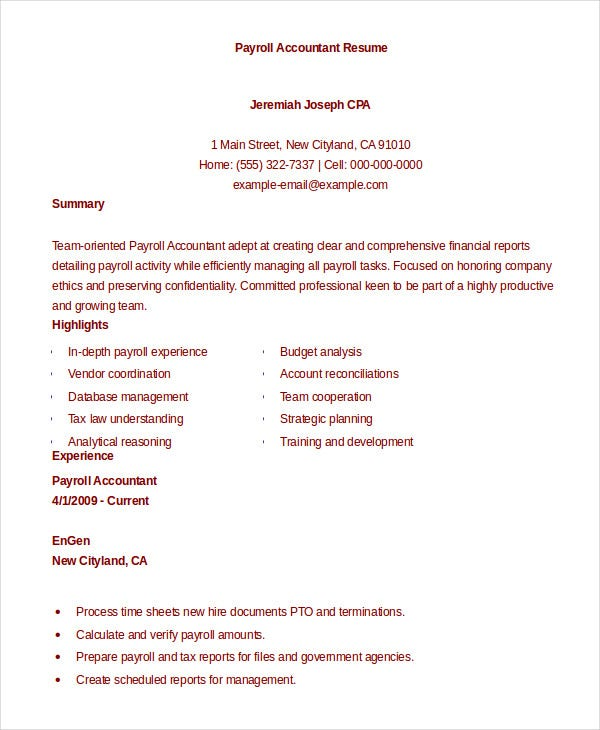 Attractive Payroll Accountant Resume Idea Payroll Accountant Resume