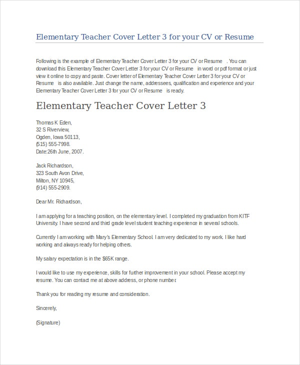 Elementary Teacher Cover Letter Example  Teacher Cover Letter Example