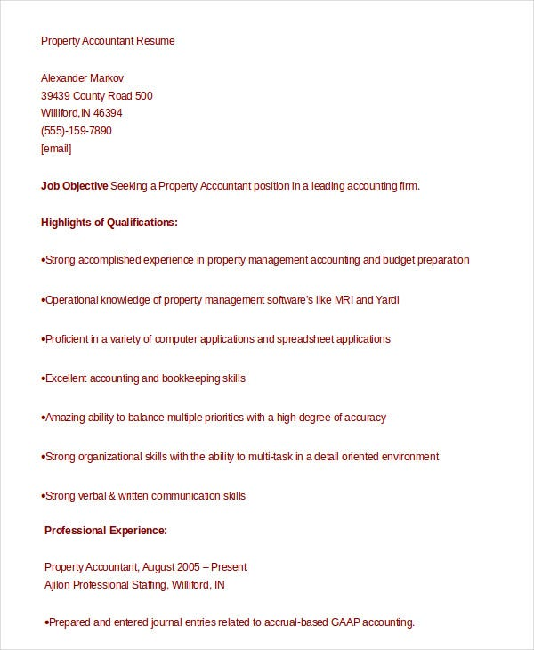 Accountant Resume   Free Word Pdf Documents Download  Free