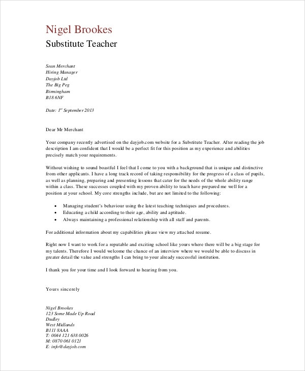 Wonderful Substitute Teaching Cover Letters To Schools
