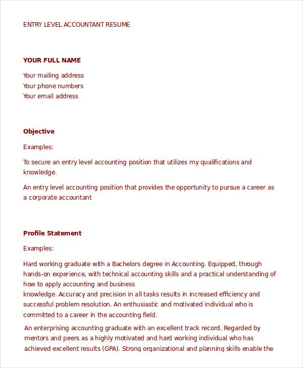 Entry Level Accountant Resume Template In Word