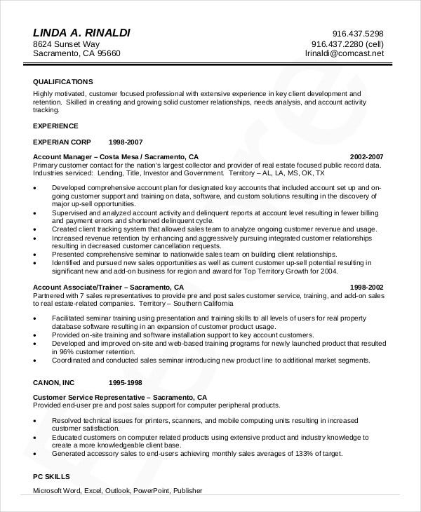 Account Management Resume Template  Account Management Resume