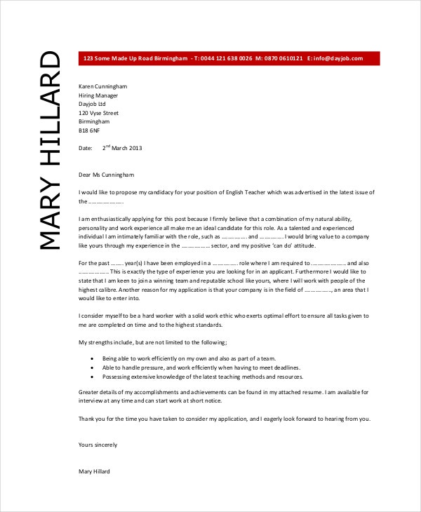 Captivating English Teacher Cover Letter Example