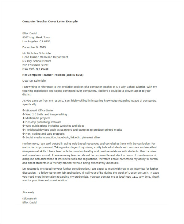 Teacher Cover Letter Example   Free Word Pdf Documents