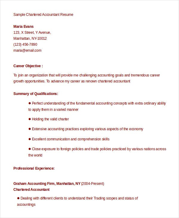 Sample Chartered Accountant Resume Template