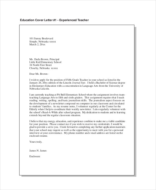 Education Cover Letter For Experienced Teacher  Teacher Cover Letter Example