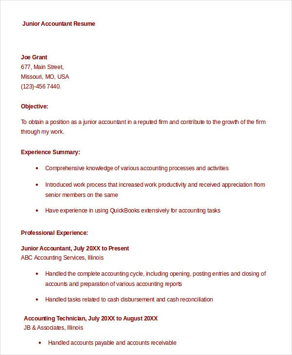 junior accountant resume download