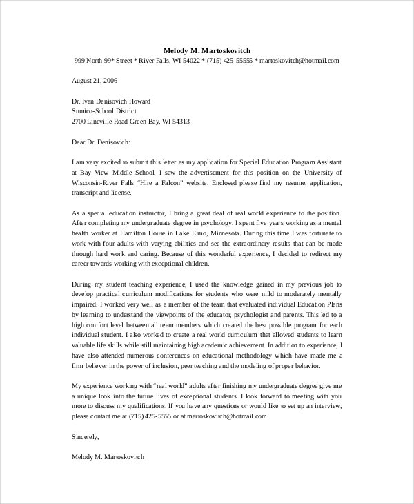 Awesome Special Education Program Assistant Teacher Cover Letter Template