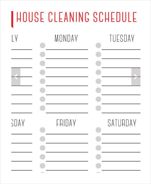 janitorial schedule template - house cleaning schedule 16 free word pdf psd