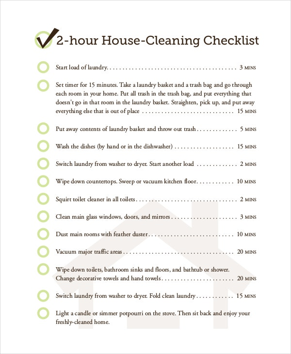 2 Hour House Cleaning Checklist