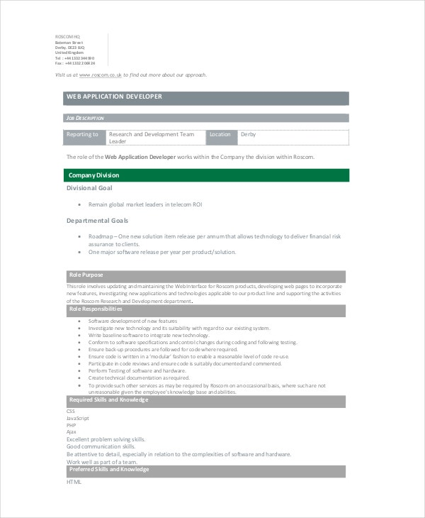 Web Developer Job Description - 10+ Free Pdf, Word Documents