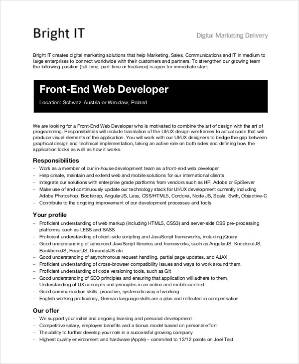 Front End Web Developer Job Description