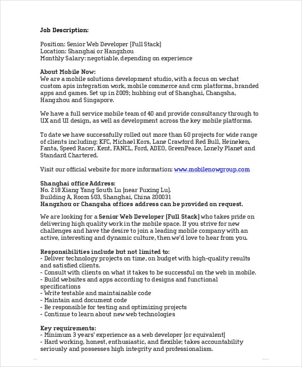 Web Developer Job Description   Free Pdf Word Documents