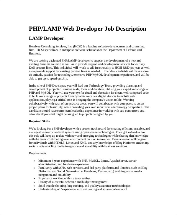 php web developer job description