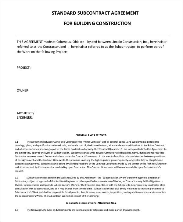 standard consulting agreement template - subcontractor agreement 11 free word pdf documents