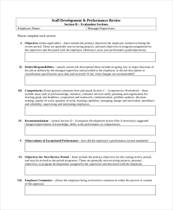 Staff Development U0026 Performance Review  Performance Review Template Word