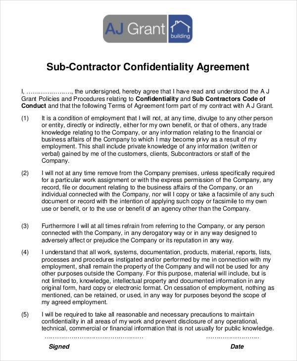 Subcontractor Agreement   Free Word Pdf Documents Downlaod