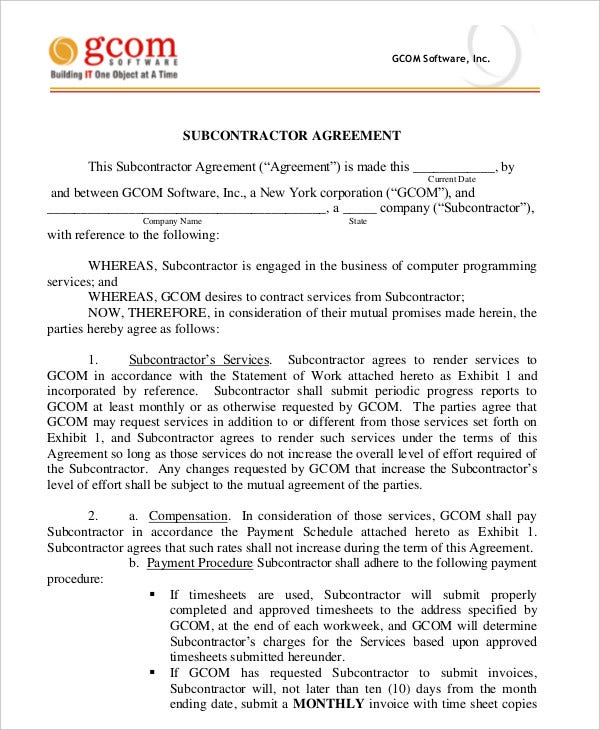 Subcontractor Agreement 11 Free Word PDF Documents Downlaod – Subcontractor Agreement Template