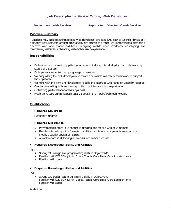 web developer job description 10 free pdf word documents - App Developer Job Description