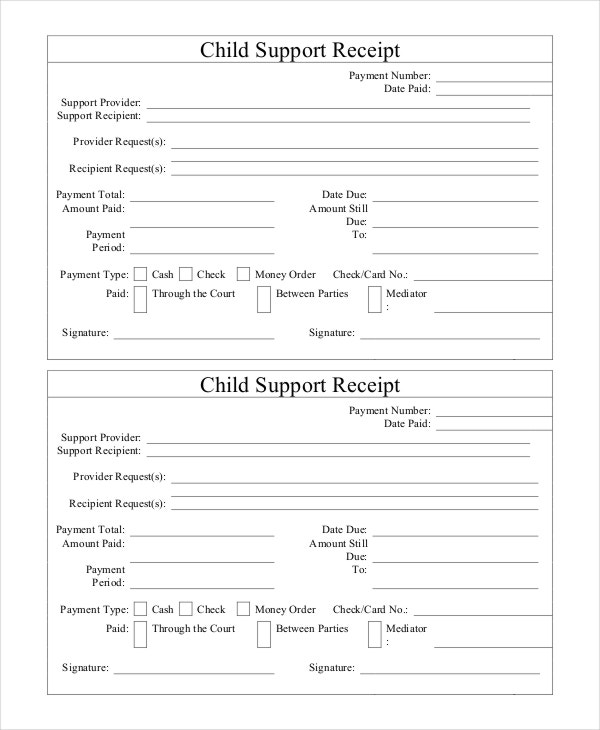Child Support Receipt Template